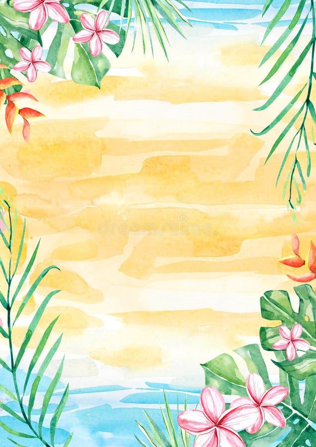 Quadro tropical da beira do arranjo da flor e da folha da aquarela para o casamento, aniversário, aniversário, convites ilustração royalty free