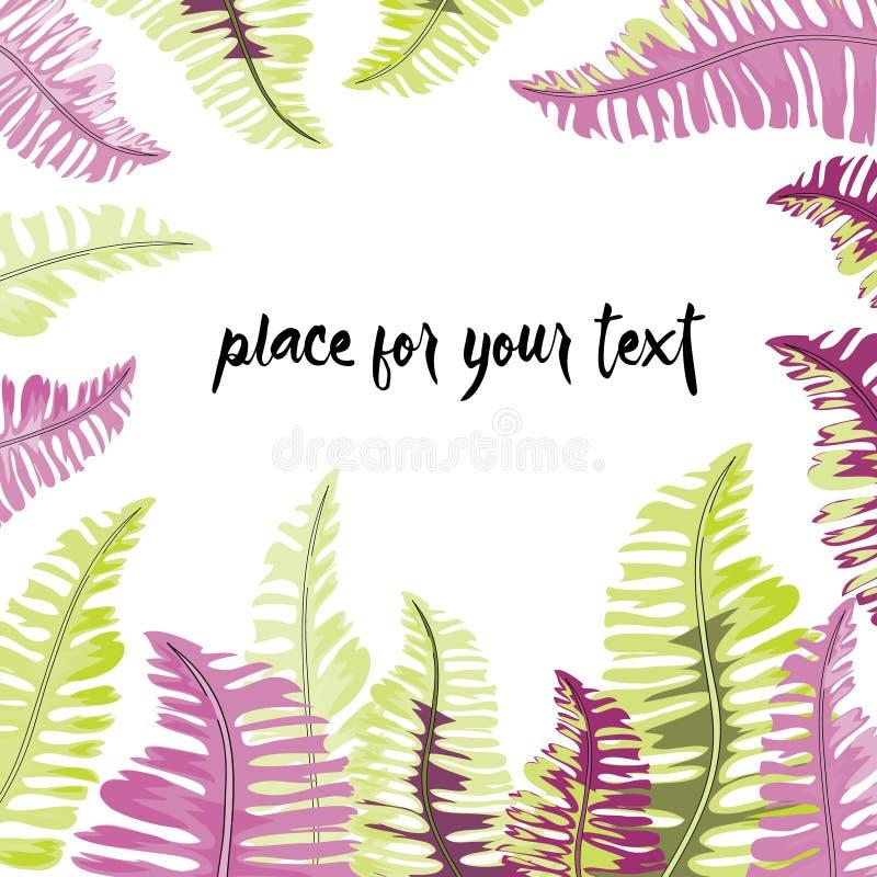 Quadro tropical das folhas do verde e do lila com lugar para seu texto Ilustração do vetor no fundo branco ilustração royalty free