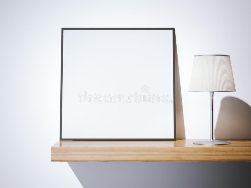 Quadro vazio com lâmpada rendição 3d ilustração stock