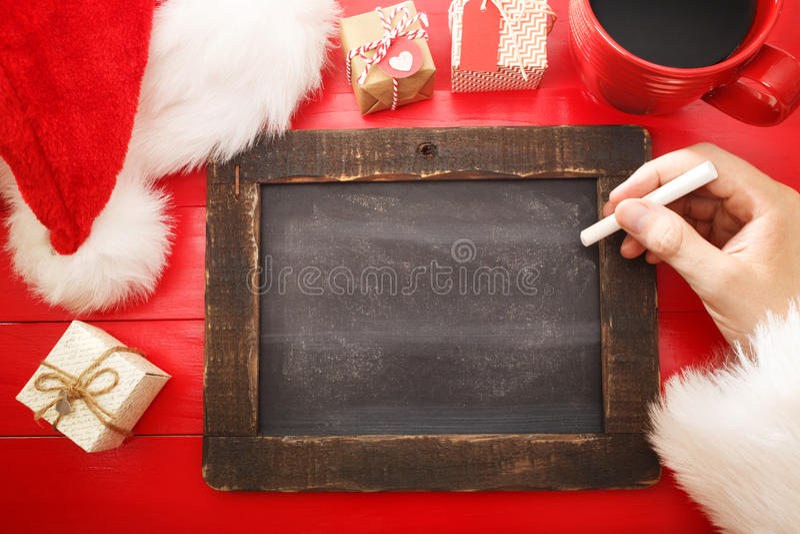 Quadro vazio com os ingredientes do wishlist do Natal imagens de stock