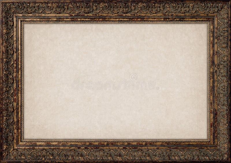 Quadro vazio da foto da montagem da parede do vintage com beira de bronze velha ilustração do vetor