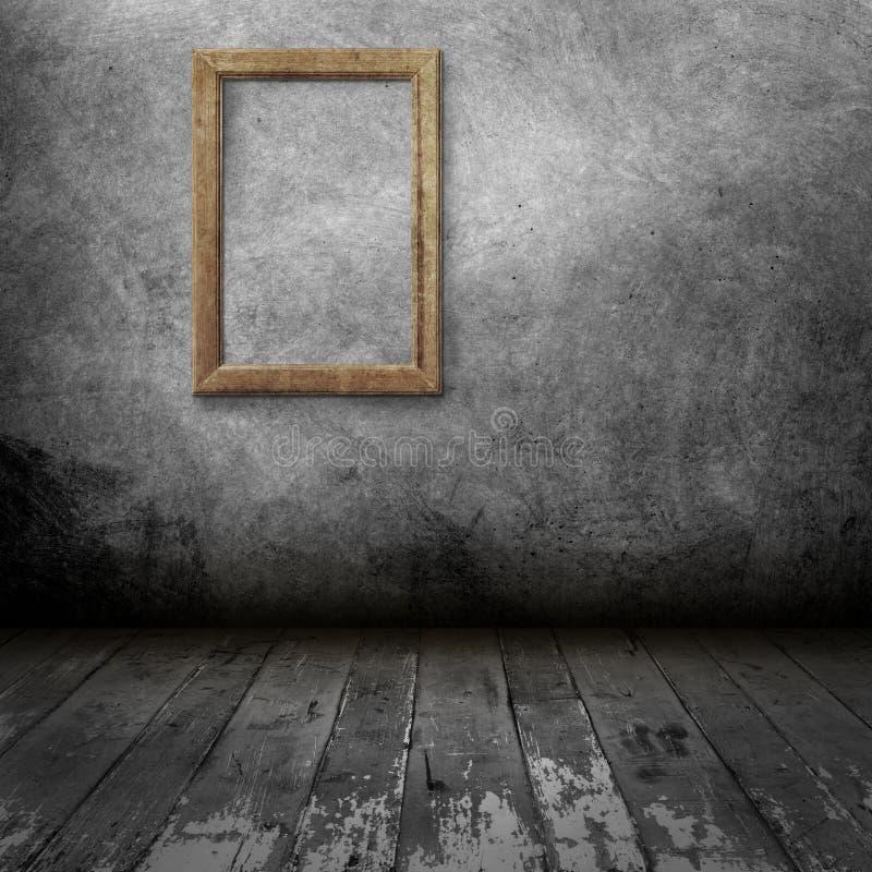Quadro vazio da foto na parede velha ilustração stock