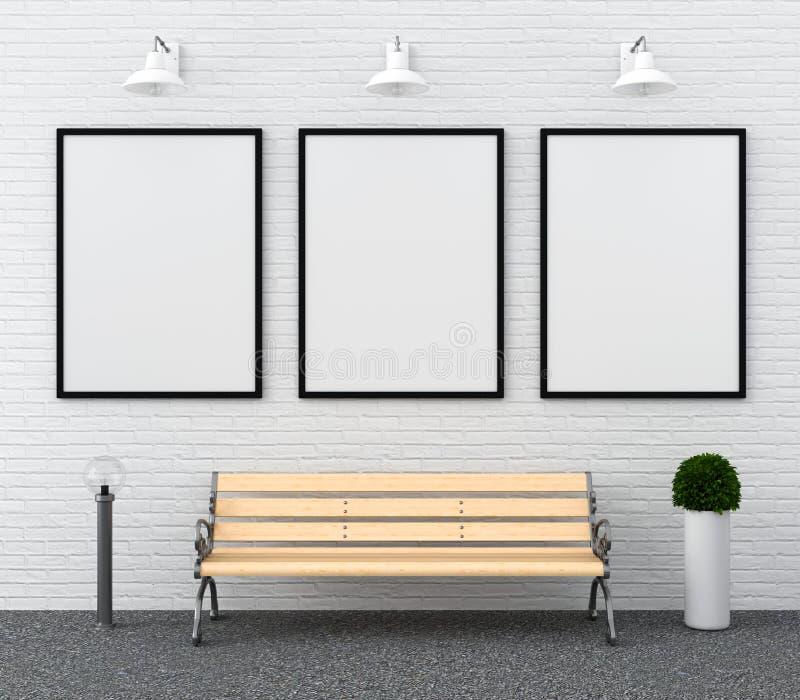 Quadro vazio da foto três para o modelo na parede, rendição 3D ilustração stock