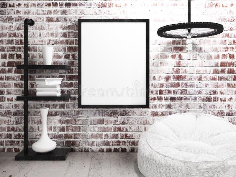 Quadro vazio do cartaz que pendura na parede de tijolo industrial foto de stock royalty free