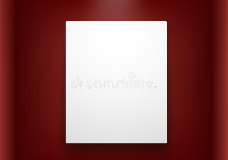 Quadro vazio na parede vermelha ilustração royalty free
