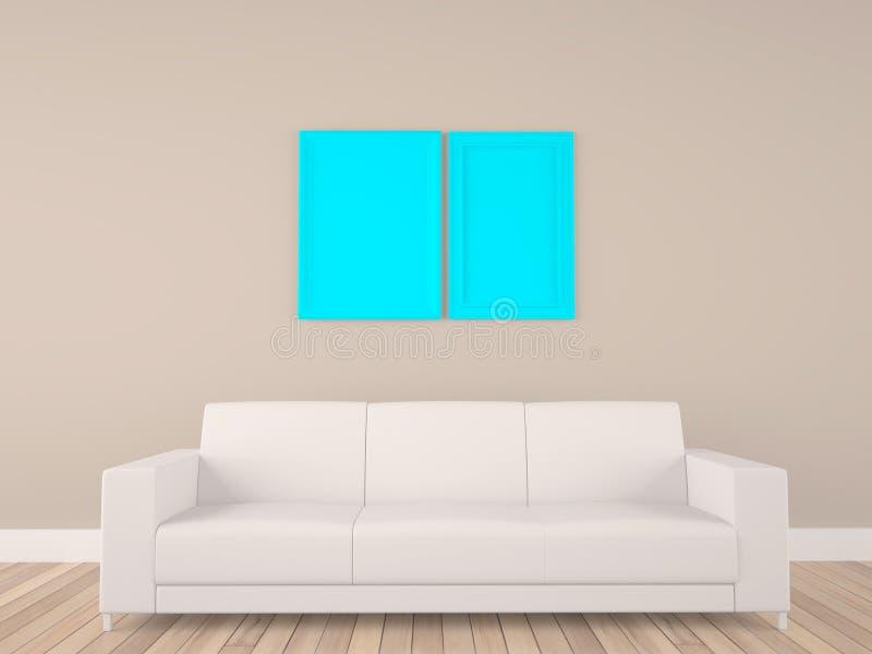 Quadro vazio na sala com sofá ilustração royalty free