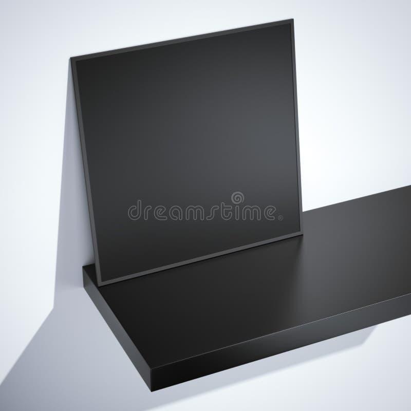 Quadro vazio preto na prateleira rendição 3d ilustração do vetor