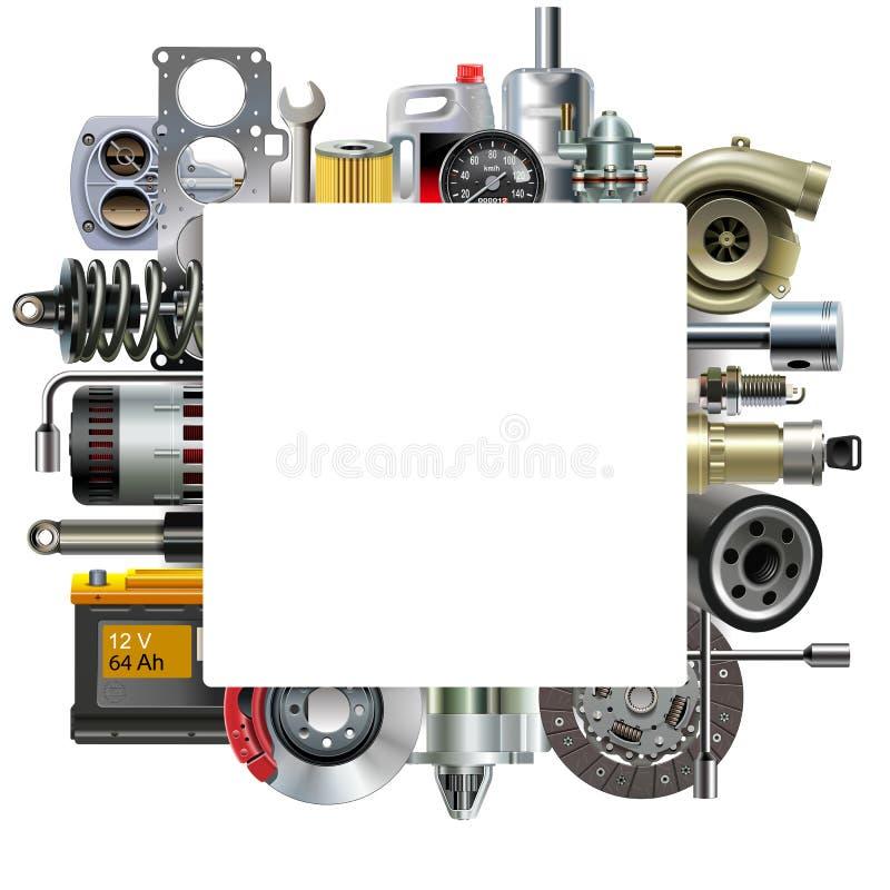 Quadro vazio quadrado do vetor com sobressalentes do carro ilustração do vetor