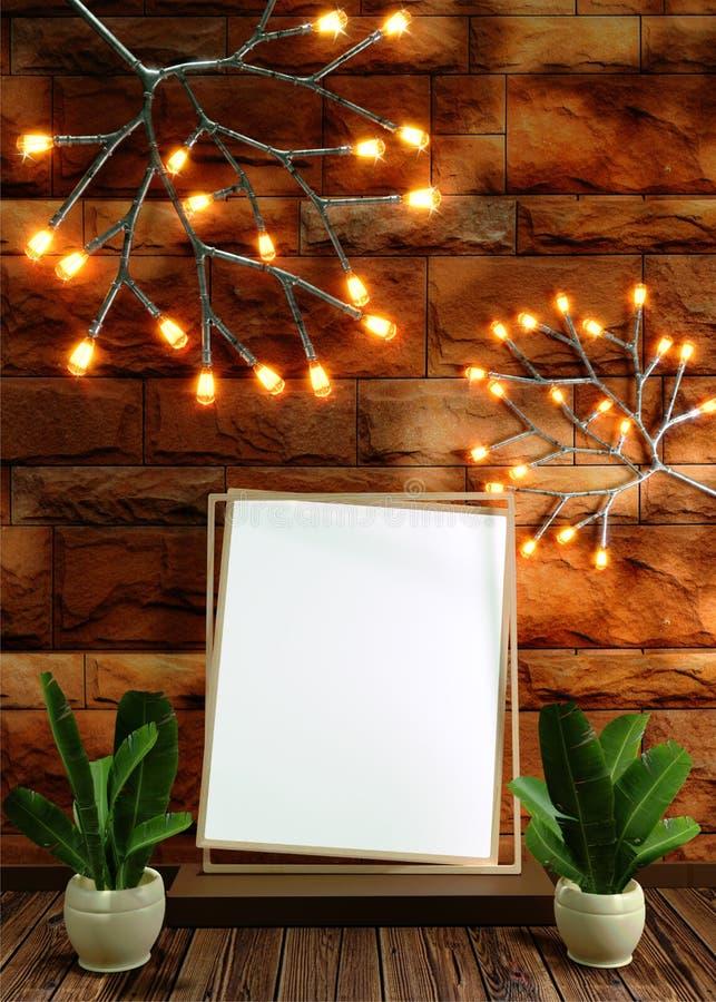 Quadro vazio realístico da foto com o vaso das folhas no fundo marrom da parede de tijolo ilustração stock