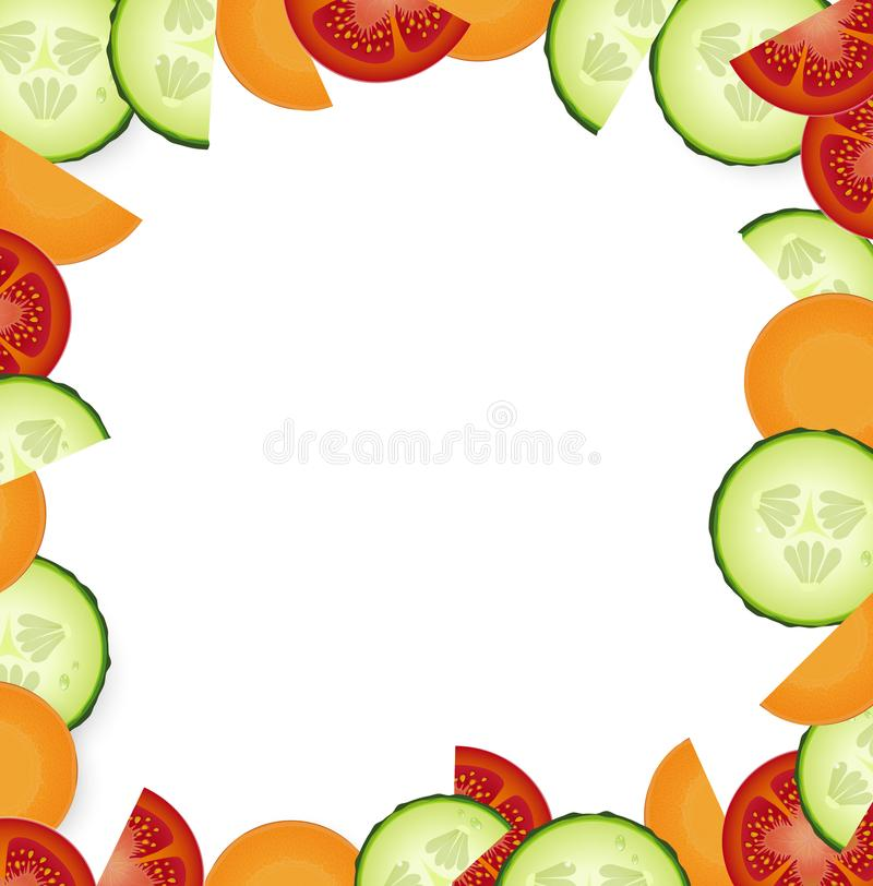 Quadro vegetal com fatias do tomate, do pepino e da cenoura no fundo branco, ilustração stock