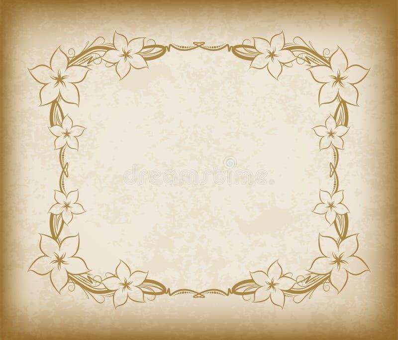 Quadro velho com as flores no papel envelhecido com bordas escuras e uma placa ilustração stock