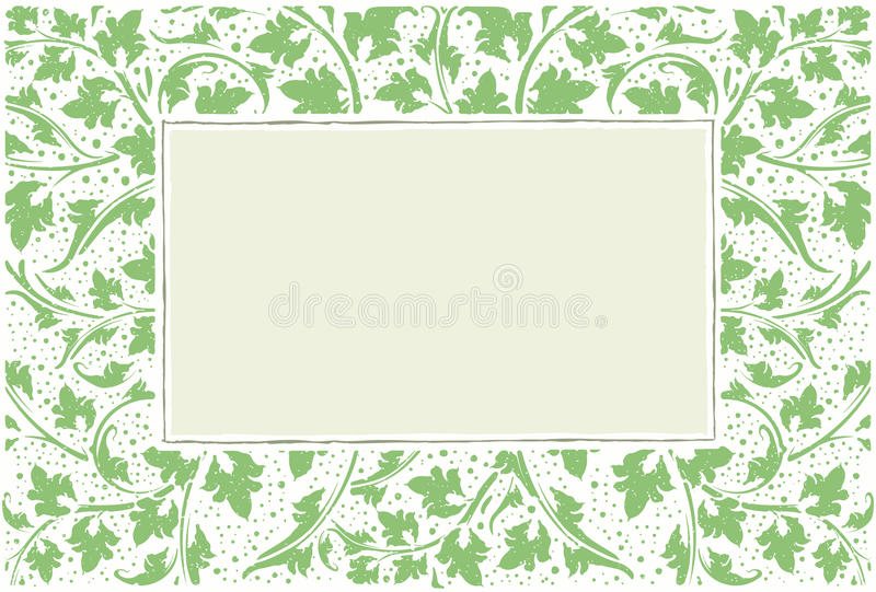 Quadro verde com coleção das plantas, estilo do grunge com gotas ilustração stock