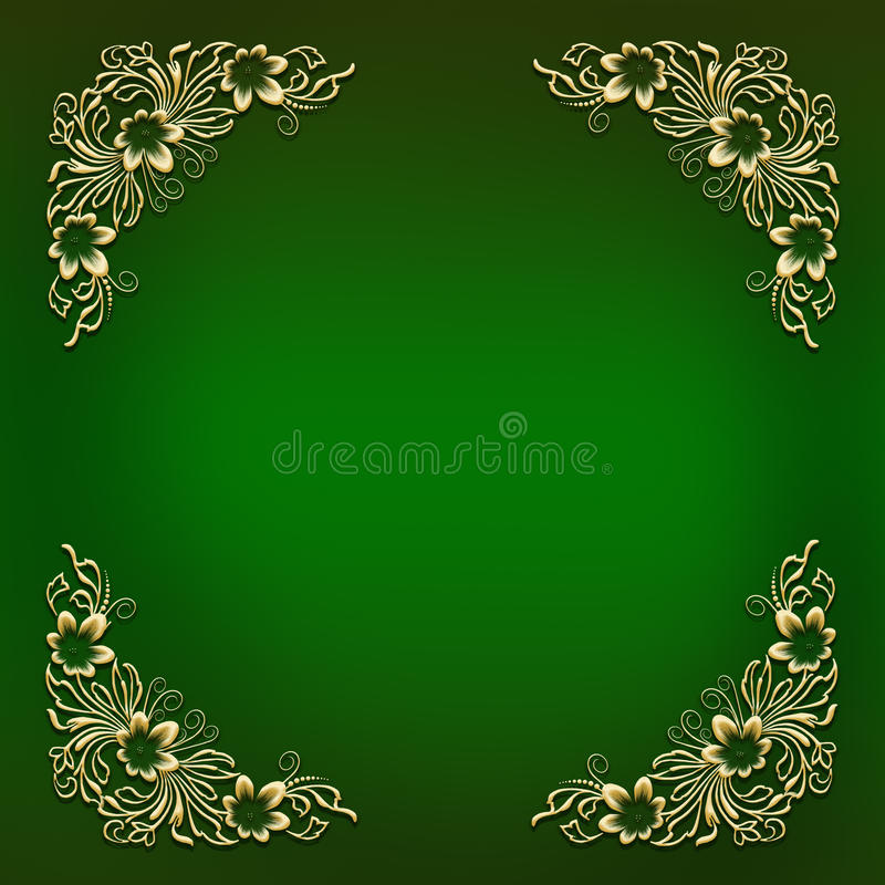 Quadro verde com o ornamento de canto floral dourado ilustração stock