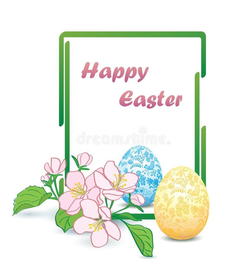 Quadro verde retangular vertical com flores da Apple-árvore e os ovos da páscoa decorativos - cartão feliz do vetor de easter ilustração do vetor