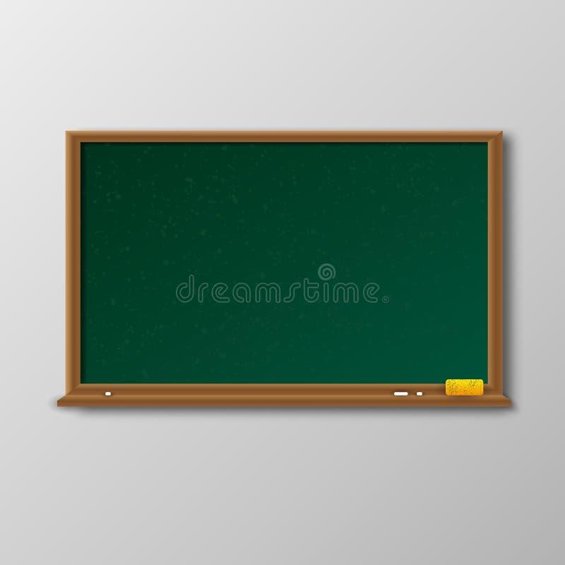 Quadro verde vazio com quadro de madeira ilustração stock