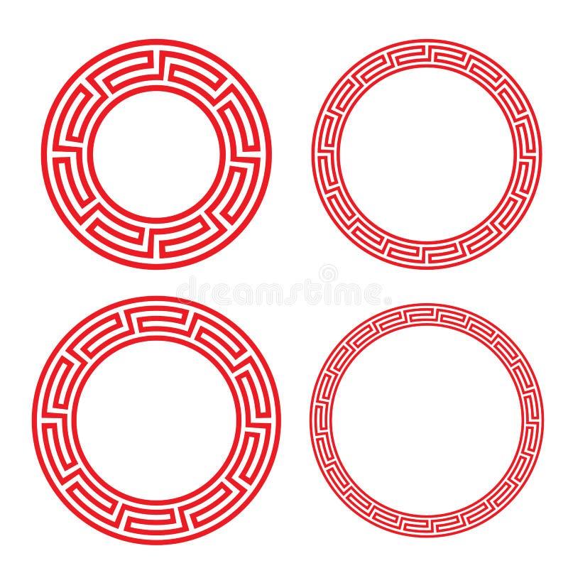 Quadro vermelho chinês clássico da janela e da foto do círculo ilustração do vetor