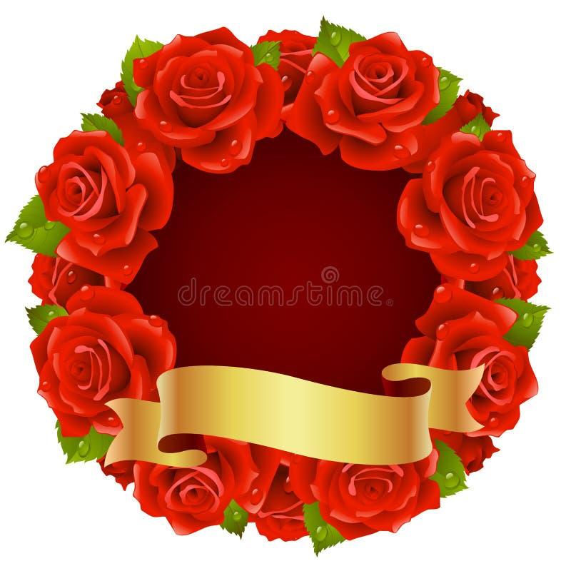 Quadro vermelho de Rosa na forma de redondo ilustração royalty free