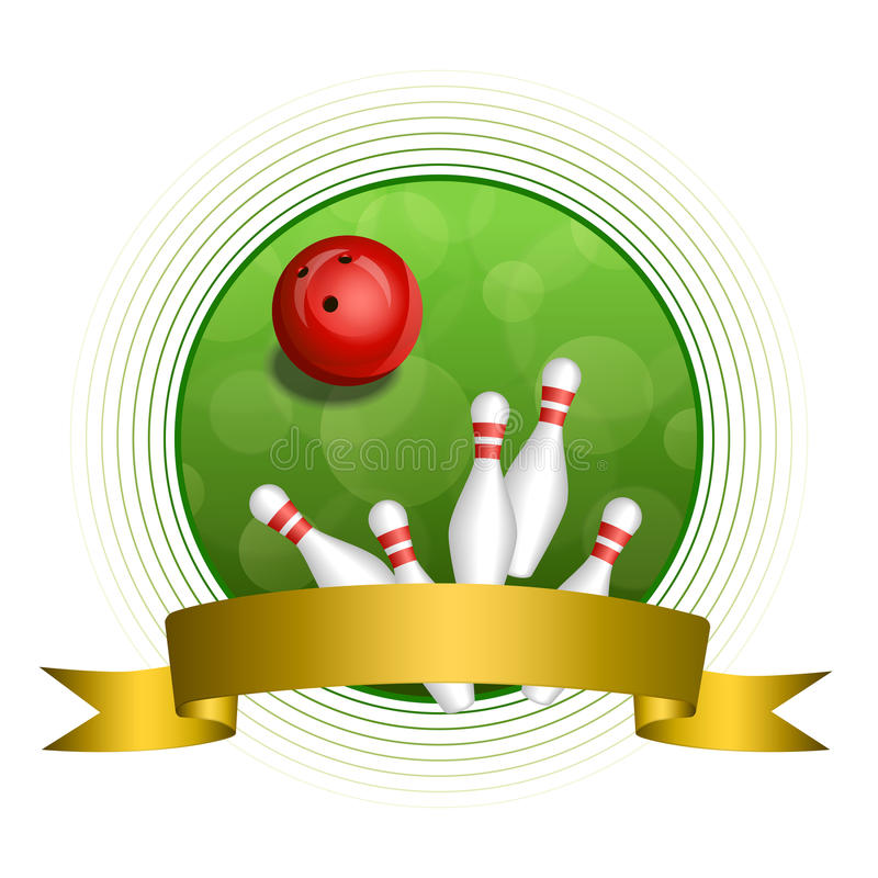 Quadro vermelho do círculo da fita do ouro da bola do boliches verde abstrato do fundo ilustração do vetor