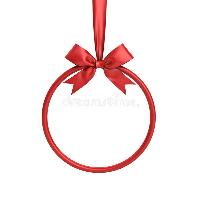Quadro vermelho do círculo que penduram com fita vermelha e a curva para a decoração do Natal e outros eventos isoladas no branco ilustração royalty free