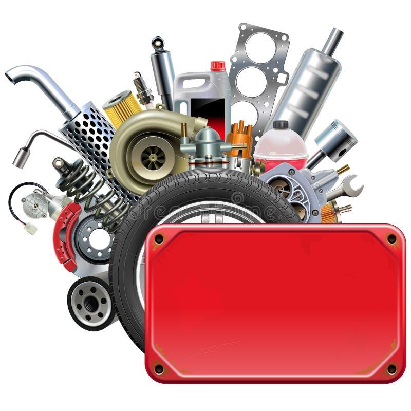 Quadro vermelho do vetor com peças do carro ilustração stock