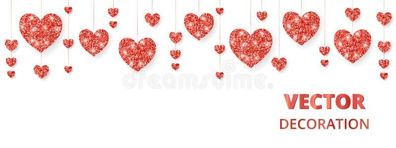 Quadro vermelho dos corações, beira Brilho do vetor isolado no branco Para a decoração cartões do dia do Valentim e de mães, casa ilustração stock