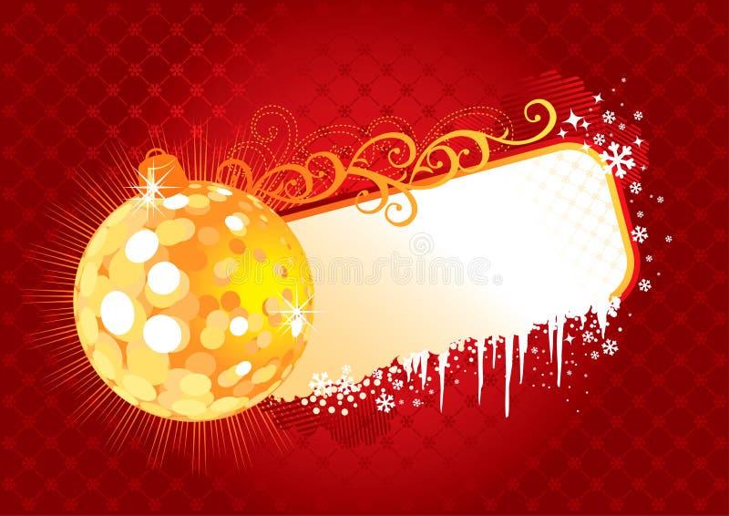 Quadro/vermelho e ouro/vetor do Natal ilustração stock