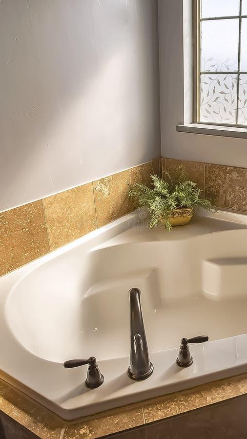 Quadro vertical construído na banheira no canto de um banheiro ensolarado com a janela de vidro geada imagem de stock