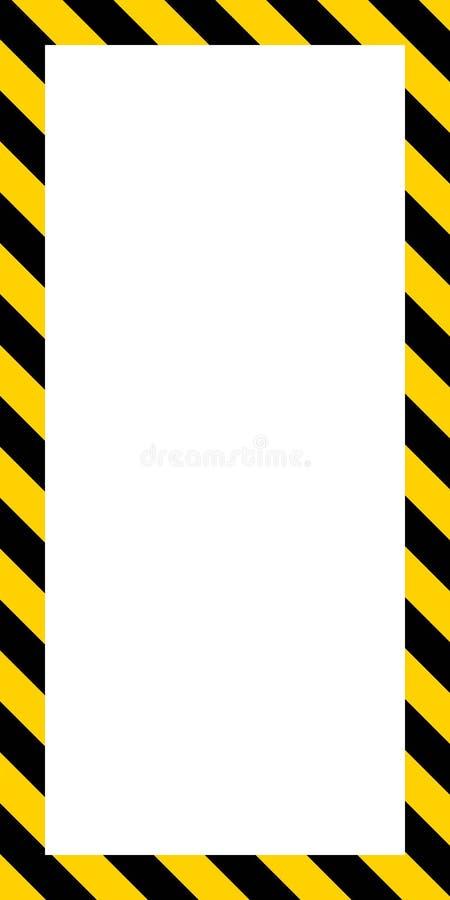 Quadro vertical da bandeira, listras amarelas e pretas diagonais ilustração stock