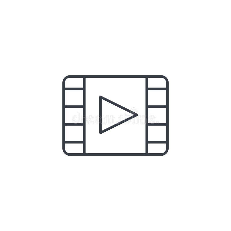 Quadro video, filme, filme, cinema, meio, linha fina ícone do jogador Símbolo linear do vetor ilustração stock