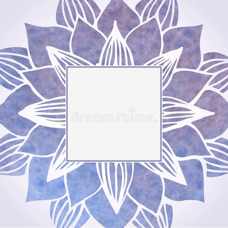 Quadro violeta da aquarela com teste padrão floral Elemento do vetor ilustração stock