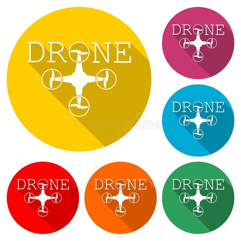 Quadrocopter商标,寄生虫象,与长的阴影的彩色组 向量例证