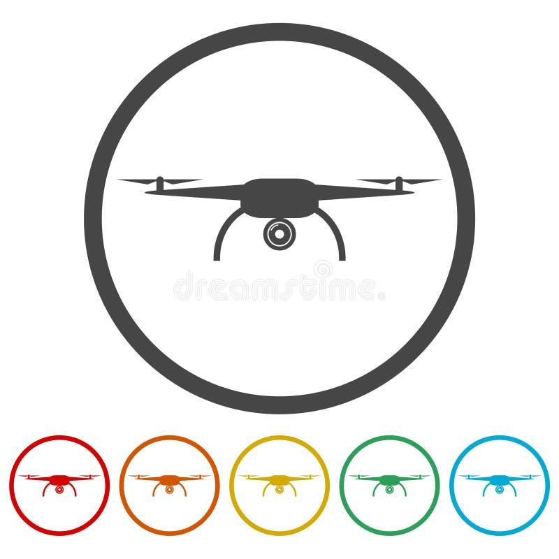 Quadrocopter寄生虫象,包括的6种颜色 库存例证