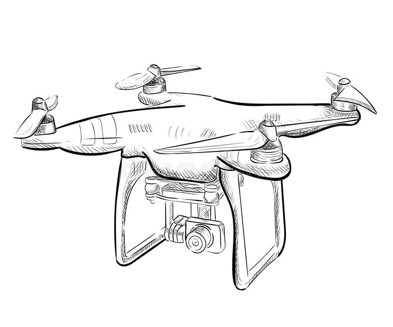 Quadrocopter aereo del veicolo dell'illustrazione di tiraggio della mano Librarsi del fuco dell'aria Schizzo del fuco royalty illustrazione gratis