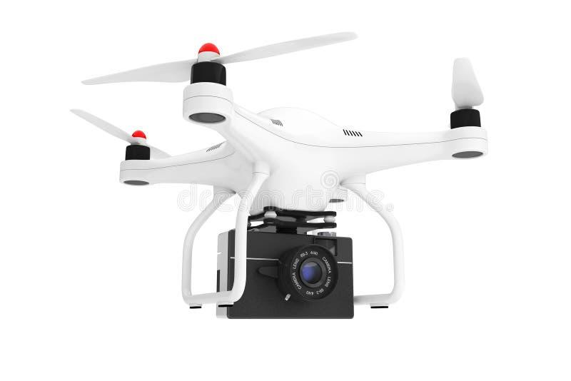 Quadrocopter blanc avec le vieil appareil-photo de photo de vintage rendu 3d illustration libre de droits