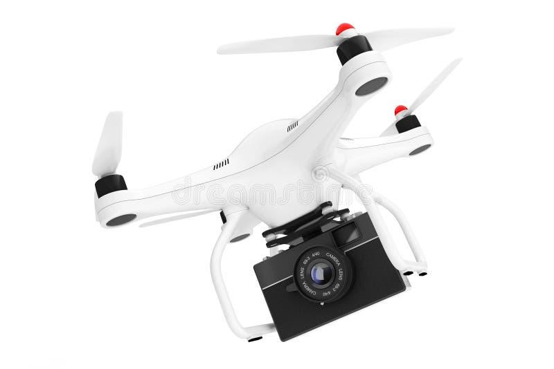 Quadrocopter blanc avec le vieil appareil-photo de photo de vintage rendu 3d illustration de vecteur