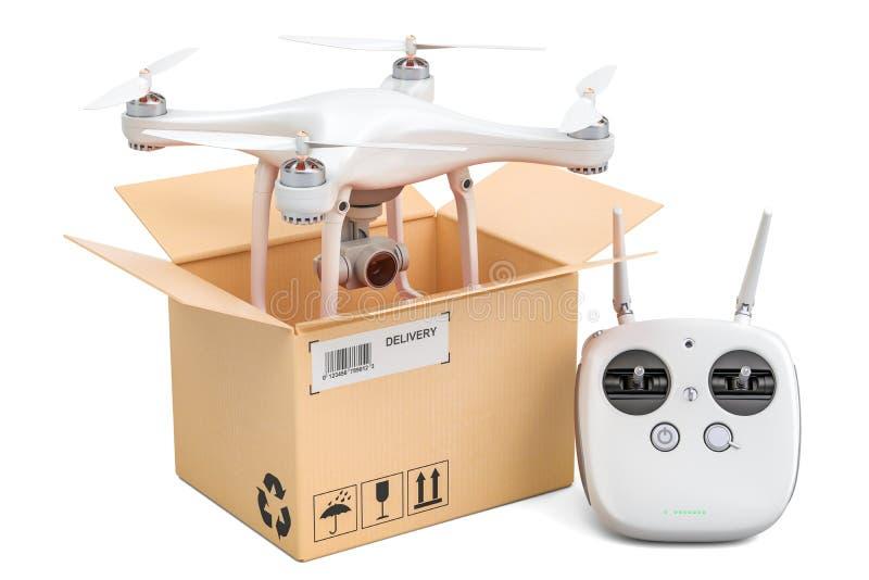 Quadrocopter de bourdon avec la boîte en carton intérieure à télécommande, del illustration stock