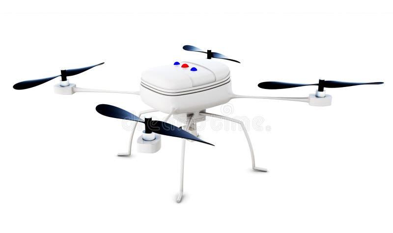 Quadrocopter de bourdon d'isolement rendu 3d illustration de vecteur