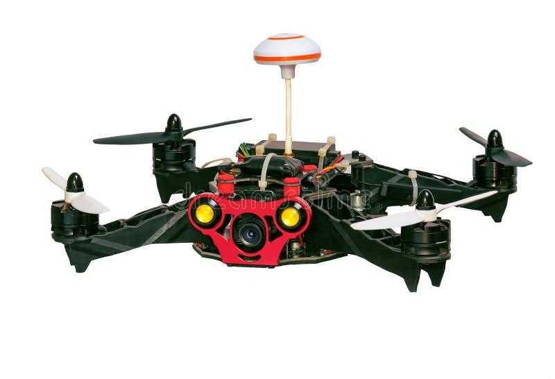 Quadrocopter de Dron d'isolement sur le fond blanc image libre de droits
