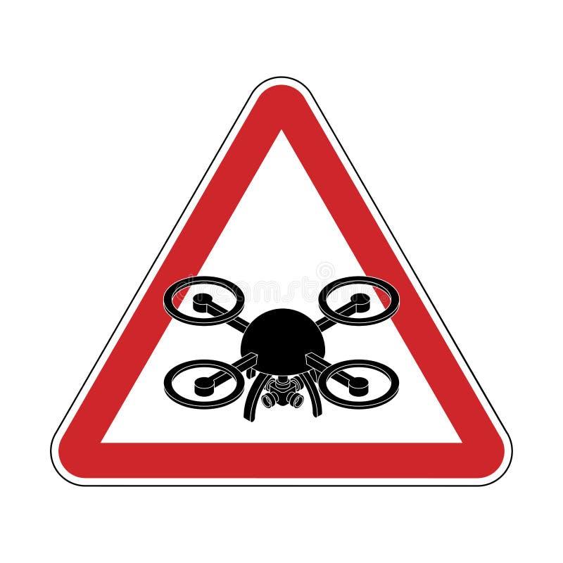 Quadrocopter de la atención Peligro de la fotografía aérea Camino rojo s stock de ilustración