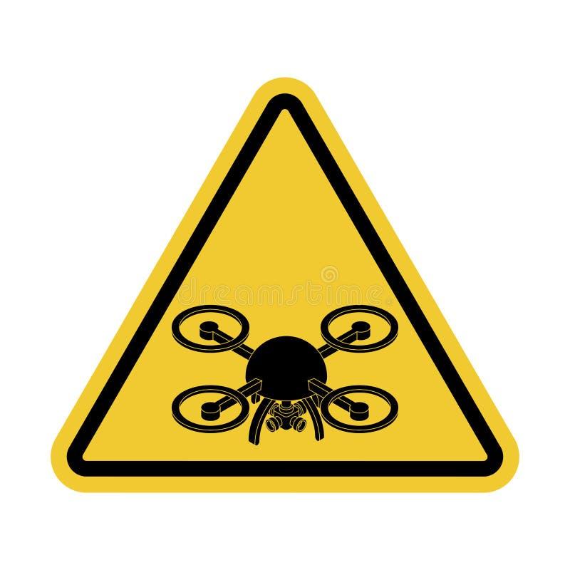 Quadrocopter de la atención Peligro de la fotografía aérea Roa amarilla stock de ilustración