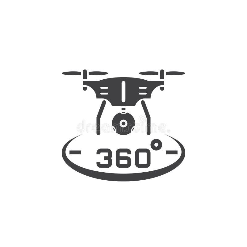 Quadrocopter del fuco con il vettore panoramico dell'icona della macchina fotografica da 360 gradi, illustrazione vettoriale