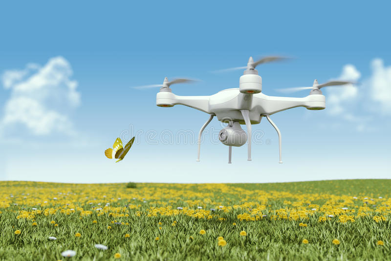 Quadrocopter drone with the camera royalty free illustration