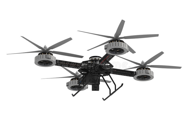 Quadrocopter drone with camera. Isolated on white background royalty free illustration