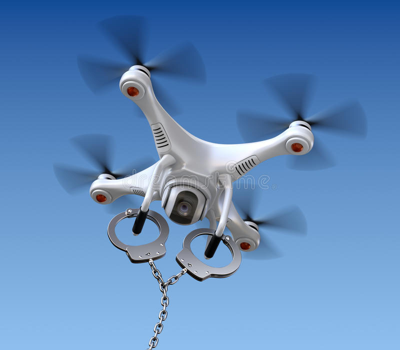 Quadrocopter drone with handcuffs. White quadrocopter drone with handcuffs on sky background - 3D concept vector illustration