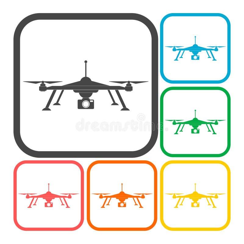 Quadrocopter - drone icon. Quadrocopter-drone icon, icon stock illustration