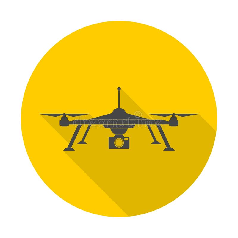Quadrocopter-drone icon with long shadow. Icon stock illustration