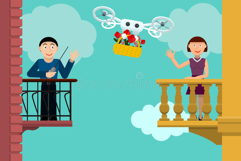 Quadrocopter and flowers stock illustration