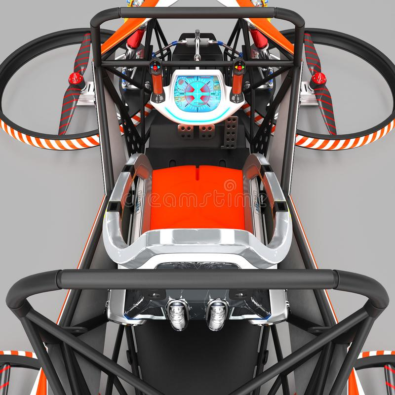 Quadrocopter monoplaza compacto para el uso privado Pequeño vehículo urbano con un motor eléctrico libre illustration
