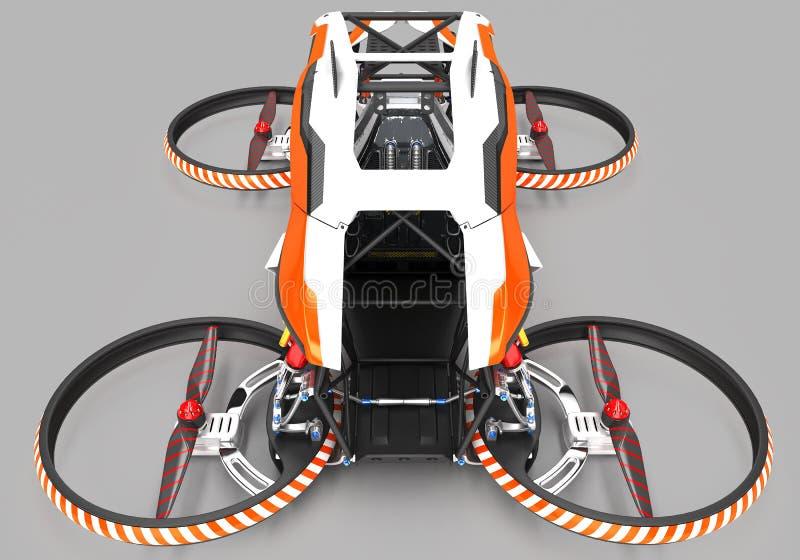 Quadrocopter monoplaza compacto para el uso privado Pequeño vehículo urbano con un motor eléctrico ilustración del vector
