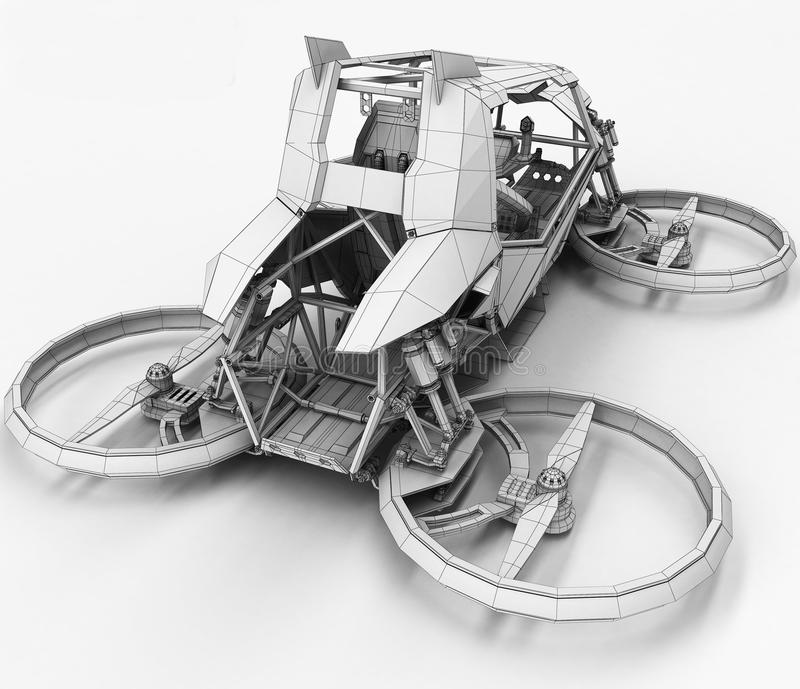 Quadrocopter monoplaza compacto para el uso privado Pequeño vehículo urbano con un motor eléctrico stock de ilustración